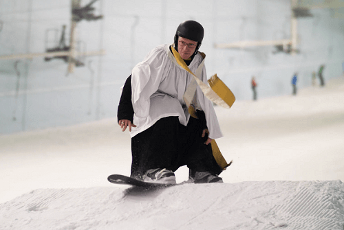 Vicar blesses Chill Factore's slope to mark the end of European ski season